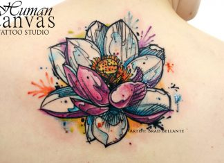 Sketchy Lotus Upper Back Tattoo