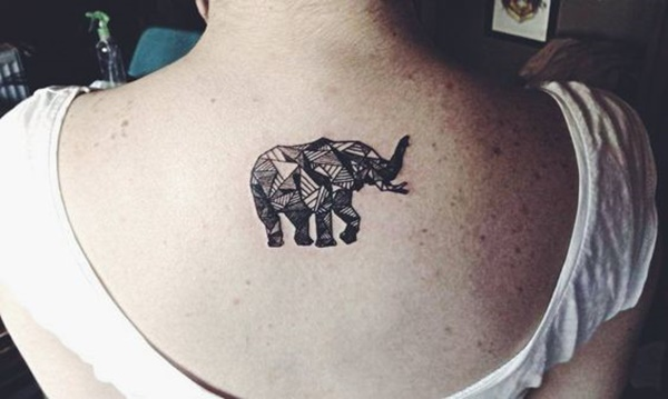 Small Monochromatic Elephant Upper Back Tattoo