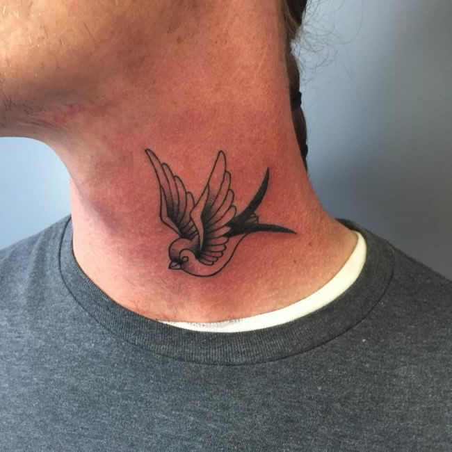 Small Sparrow Neck Tatoo