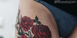 Sultry Red Peonies Thigh Tattoo