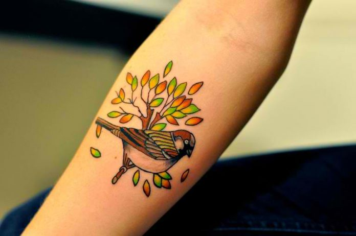 Traditional Sparrow Forearm Tattoo