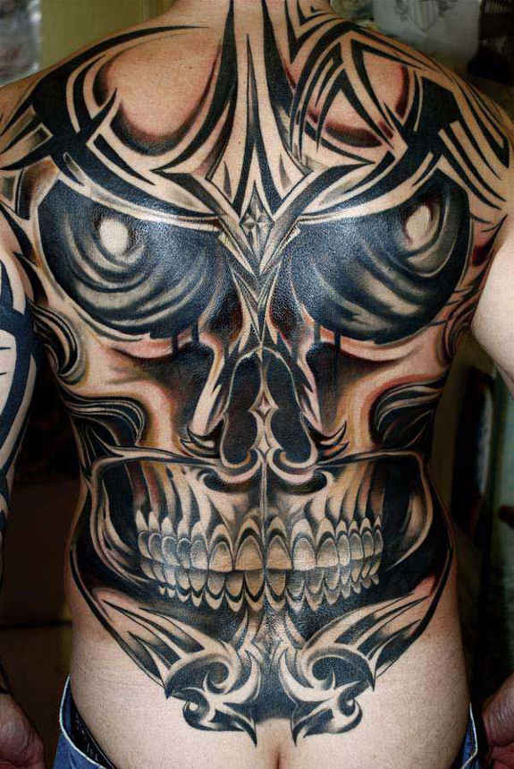 Tribal Skull Full Back Tattoo