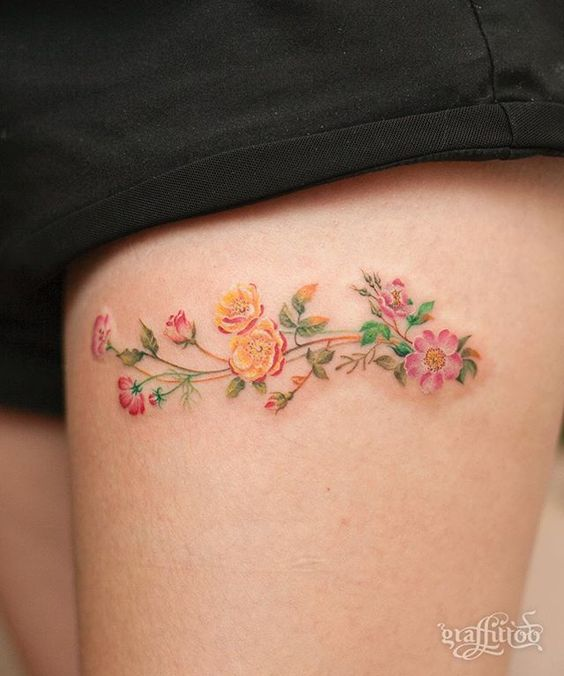8aaaef514 Watercolor Flower Sprig Thigh Tattoo | Amazing Tattoo Ideas