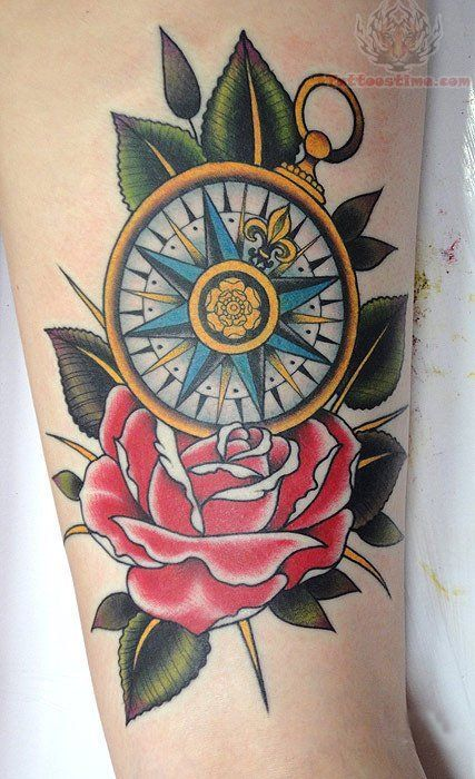 Colored Nautical Compass On A Red Rose Forearm Tattoo Amazing