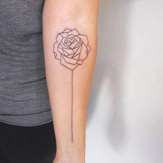geometric long stemmed rose forearm tattoo amazing tattoo ideas. Black Bedroom Furniture Sets. Home Design Ideas