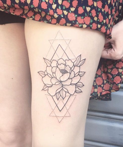 Geometric rose thigh tattoo amazing tattoo ideas for Top 10 tattoo shops in nyc