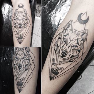 Geometric Wolf With Moon Forearm Tattoo Amazing Tattoo Ideas