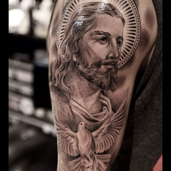 San Judas Tattoo: Jesus-christ-and-holy-spirit-half-sleeve-tattoo