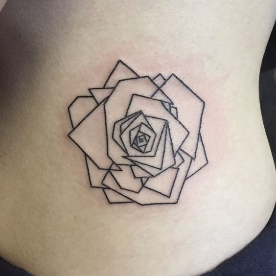 Line Work Design : Linework geometric rose side belly tattoo amazing