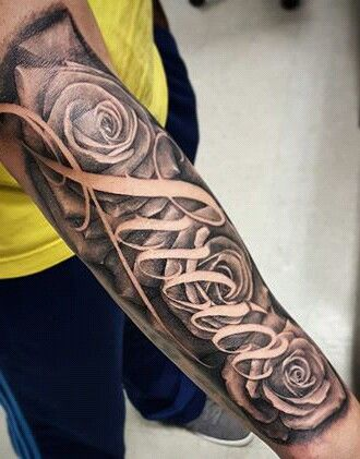 Rose with text full sleeve tattoo amazing tattoo ideas for Top 10 tattoo shops in nyc