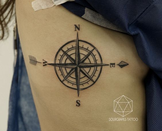 Traditional Compass Side Tattoo with Arrow Parts   Amazing Tattoo Ideas