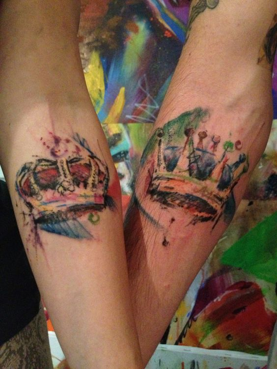 Watercolor Couple Crown Forearm Tattoos