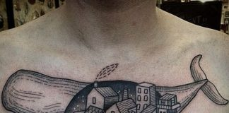 Whale Village Surrealism Chest Tattoo