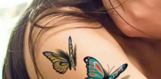 3D Colorful Butterflies Arm Tattoo