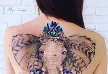 Blue-Watercolored Elephant Full Back Tattoo