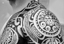 Circular Polynesian Patterns Chest to Arm Tattoo
