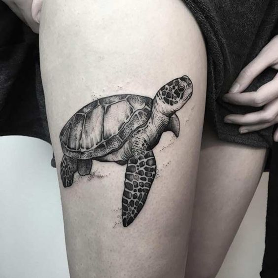 Dotwork Sea Turtle Thigh Tattoo