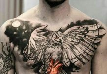 Flying Owl Chest Tattoo