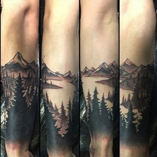 Forest River in Negative Space Forearm Sleeve Tattoo