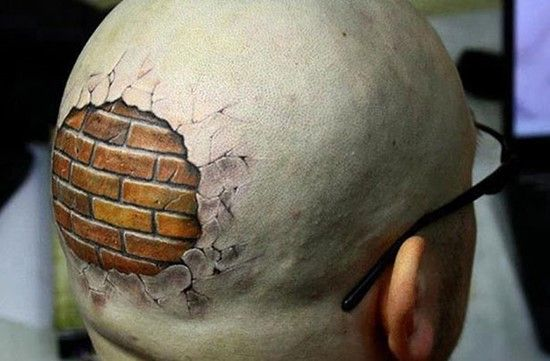 Realistic Bricks Head Tattoo