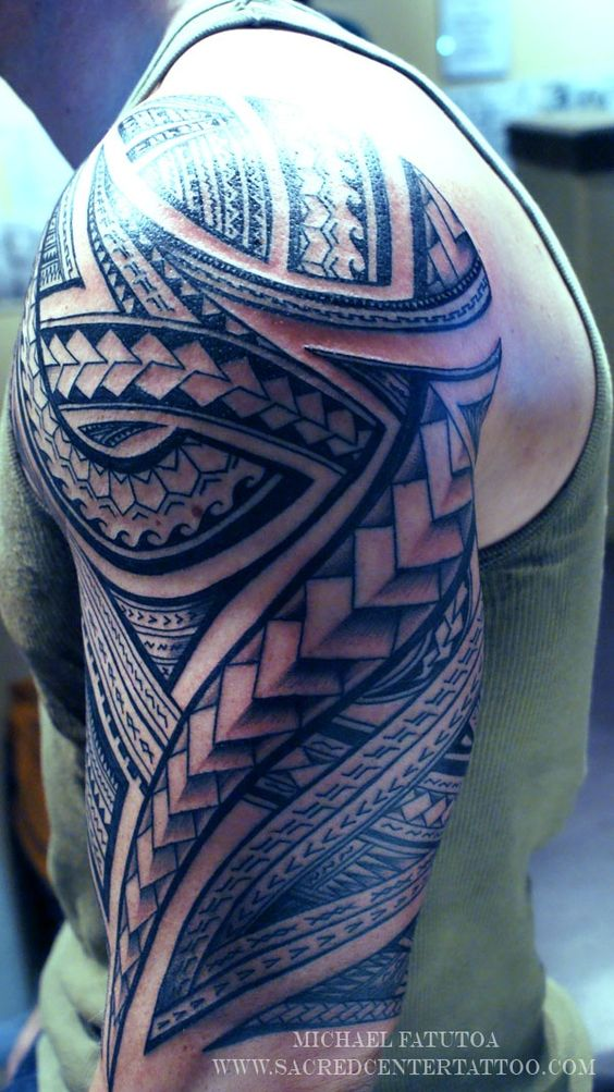 Sequenced Diamond and Patterns Half Sleeve Tattoo