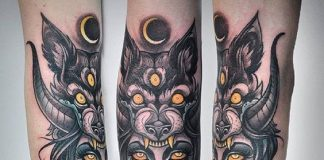 Snake Woman with Three-Eyed Wolf Headdress Forearm Tattoo
