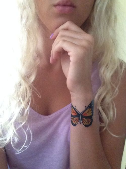 Traditional Butterfly Wrist Tattoo