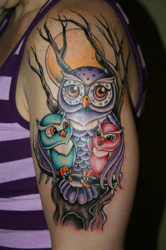 3 Colorful Spooky Owls Arm Tattoo
