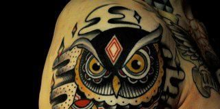 Black-Feathered Owl with Geometric Shaped Body Full Sleeve Tattoo