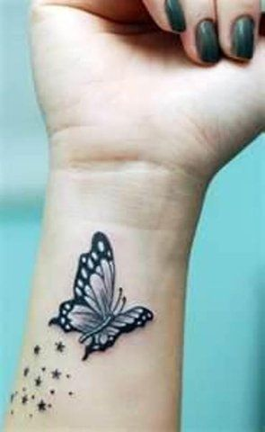 Butterfly Dust Wrist Tattoo