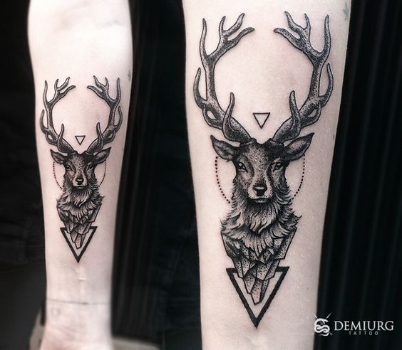 Dotwork Deer Forearm Tattoo