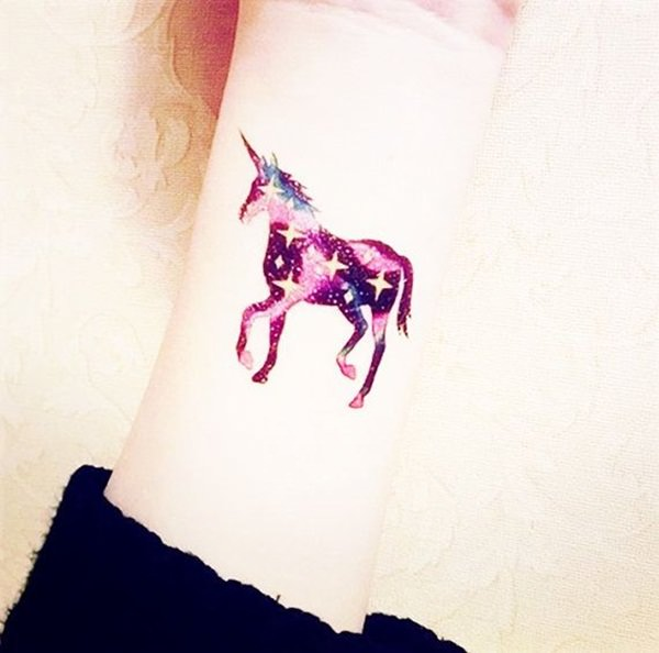 Galactic Unicorn Wrist Tattoo