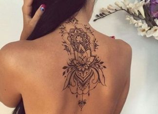 Gorgeous Lotus Tattoo On Uppper Back