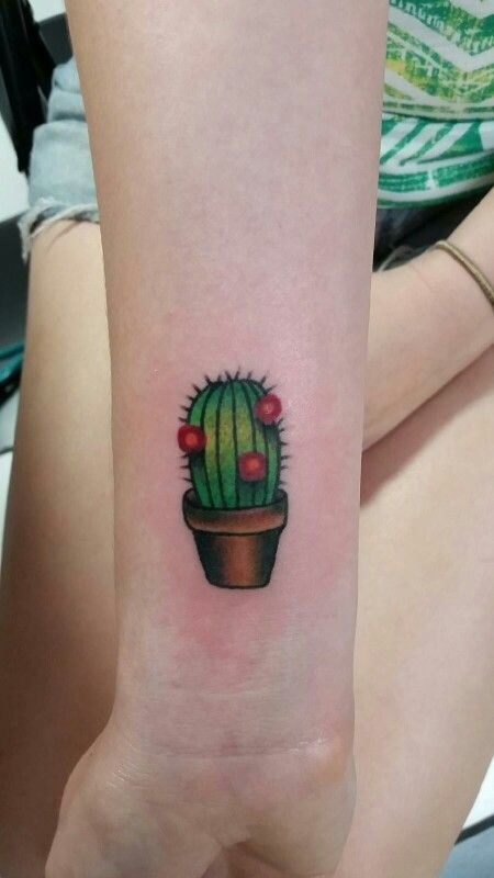 Green Cactus Wrist Tattoo