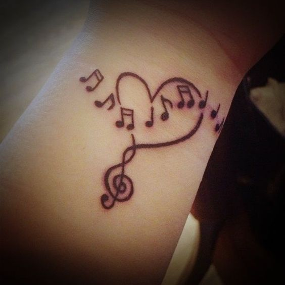 Love for Music Wrist Tattoo