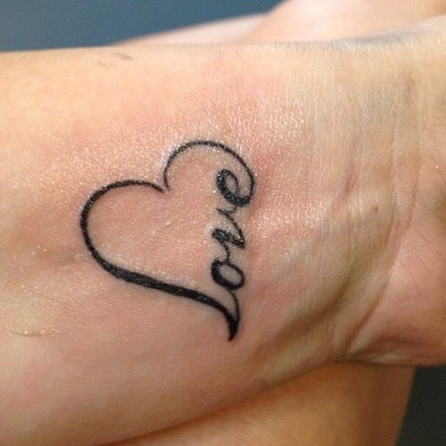 Love on Heart Wrist Tattoo