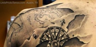 Map and Compass Shoulder Blade Tattoo