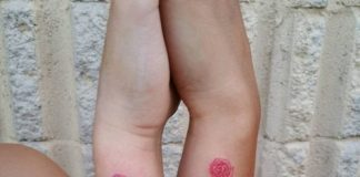 Matching Infinity Roses Forearm Tattoo
