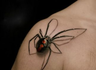 Realistic Black Widow 3D Shoulder Tattoo