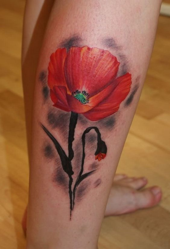 Red Poppy Leg Tattoo