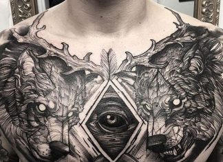 Shaded Wolves and an Eye Chest Tattoo