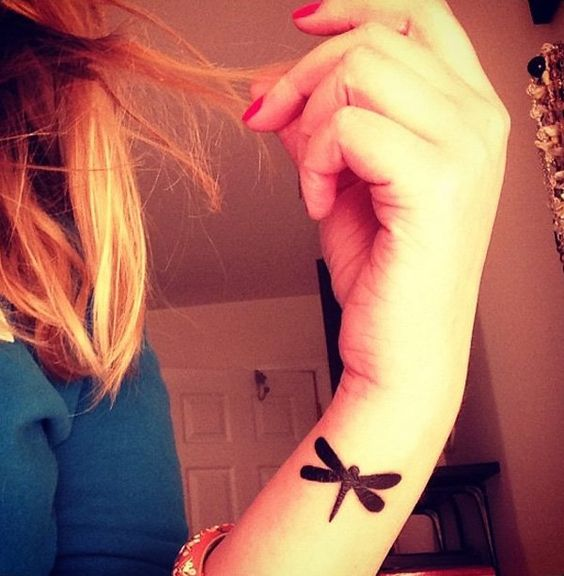 Solid Black Dragonfly Wrist Tattoo