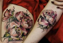 Splendid Geometric Roses Tattoo