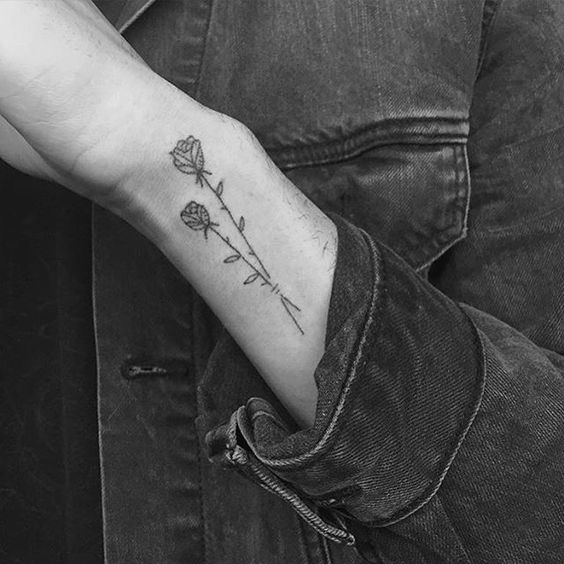 Two Long Stem Roses Wrist Tattoo
