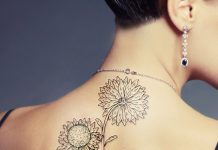 Unique Sunflower Back Tattoo
