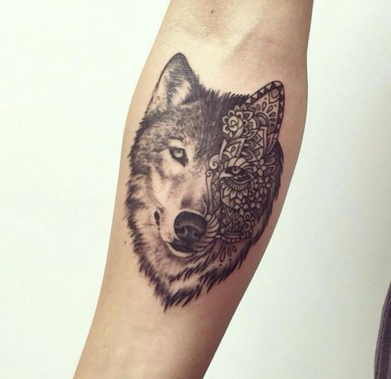 Wolf Lace Forearm Tattoo