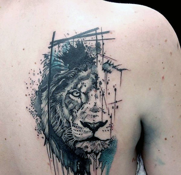 20ab31be7 Abstract Watercolor Lion Back Tattoo | Amazing Tattoo Ideas