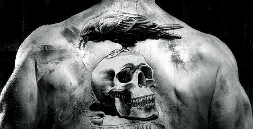 Crow On Skull Back Tattoo