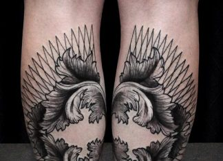 Geometric Leaves Calf Tattoos