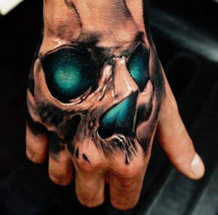 Glowing Skull Hand Tattoo Amazing Tattoo Ideas